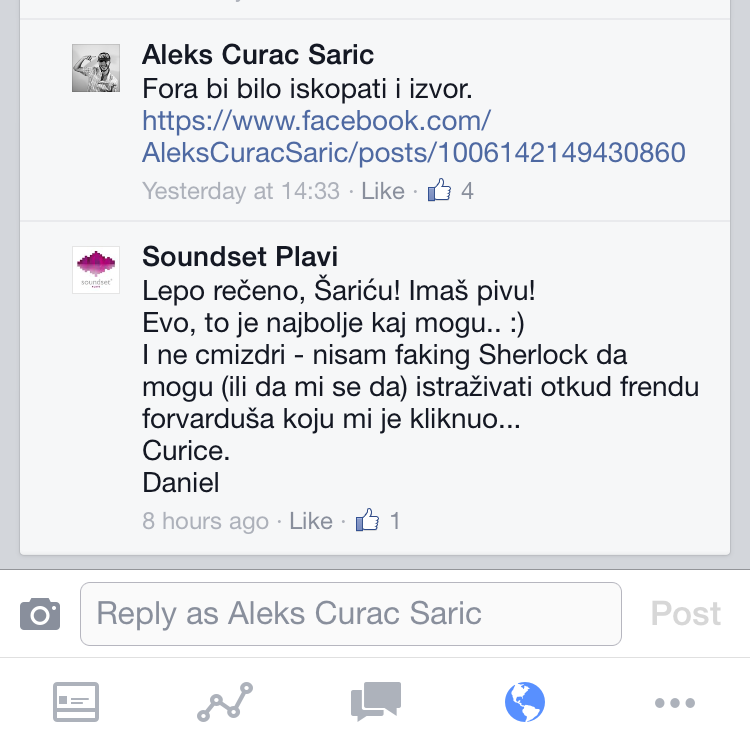 Screenshot of a comment section on Facebook